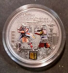 "Cook Islands 2015 $5 History of the Samurai 1 Oz Ag Coin ""AUTHENTIC ARMOR INLAY"""