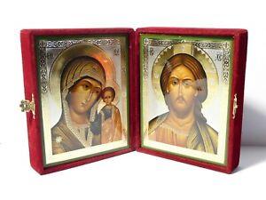 "2 x Modern Russian Christianity Icons Virgin Mary & Jesus Velvet Display Box 6"""