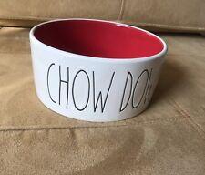 "RAE DUNN Dog Pet ""CHOW DOWN"" Food Water Bowl FARMHOUSE Stoneware NEW"
