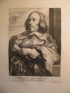 Robert VAN VOERST 1597-1636 GRAVURE XVII PORTRAIT VAN DYCK AUTOPORTRAIT GRAVEUR