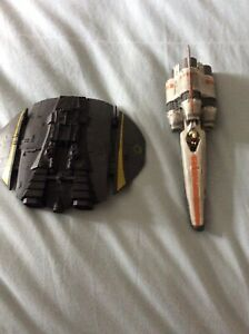 battlestar galactica, 2 space ships, used, average conditon, some wear and tear.