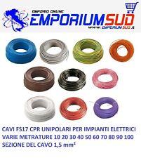 CAVO CORDINA UNIPOLARE FS17 1,5 mm² CAVI FILO ELETTRICO VARIE METRATURE EX N07VK