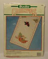 New 1990 Bucilla Santa Sleigh Christmas Tablerunner Cross Stitch Kit Made in USA