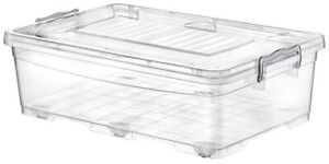 30 Litre Clear Stackable Under Bed Storage Containers With Clip Lid & Wheels