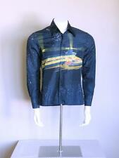 vtg 70s RARE designer disco atomic rocker SPACEPORT hipster NIK NIK op art shirt