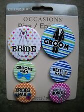 CELEBRATE IT Wedding Pins Epingles Bride Groom set of SIX pins Michaels Stores