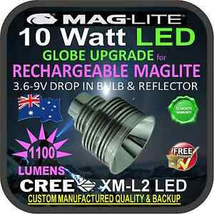 MAGLITE UPGRADE LED MAG CHARGER  BULB GLOBE RECHARGEABLE TORCH FLASHLIGHT 1100LM