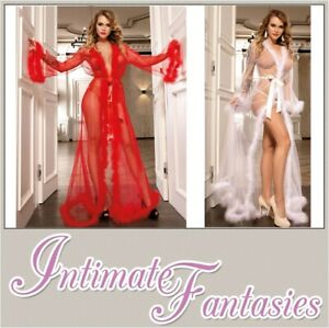 Sheer Black Red White Pink See Through Dressing Gown Size 14 16 18 20 22 XL Robe