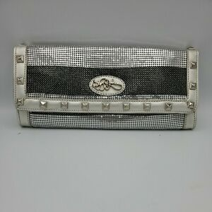 Betsey Johnson Metallic Clutch Purse Silver Gunmetal Studded Evening Bag