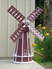 5 ft. Octagon Poly Dutch Windmill, Lawn Ornament (Cherry with WhiteTrim)