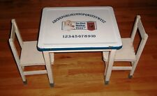 Child's Porcelain Topped Table w/2 Wood Chairs Advertising Calumet Baking Powder