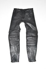 "Black Leather Armour Biker Motorcycle Men's Trousers Pants Jeans Size w34"" l32"""