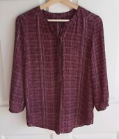 NYDJ Womens 3/4 Sleeve Purple Printed Pintuck Henley Blouse Top Shirt Size XS