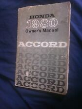 1980 Honda Accord Owners Manual USA Market Owners Manual