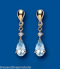 Blue Topaz Earrings Natural Blue Topaz Pear drop Earrings Yellow Gold Earrings