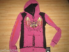 NEW Sinful by AFFLICTION Sz S SWEATSHIRT SHIRT TOP HOODY Paloma Pink