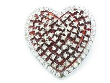 WHITE CRYSTAL UNIQUE RED ENAMEL HEART PIN NEW GIFT IDEA