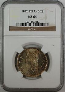 1942 Ireland Two Shilling, NGC MS-64, Toned