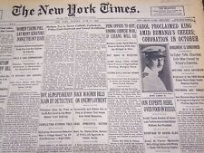 1930 JUNE 9 NEW YORK TIMES CAROL PROCLAIMED KING AMID RUMANIA'S CHEERS - NT 4956