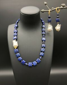 Lapis Lazuli and White Baroque Keshi Pearls Jewellery Set of Necklace & Earrings