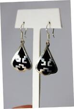 Dangle Earrings 1.75� – 8240 Sterling Silver Mexico Taxco Black Enamel