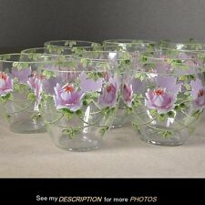 Vintage Set of 11 PUNCH CUPS Enamel Hand Painted Roses