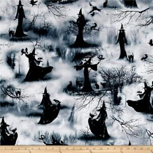 Witches Fabric Fat Quarter Cotton Craft Quilting Wicked Fog Halloween