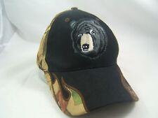 Camo Black Bear Hat Camoflauge Hook Loop Baseball Cap