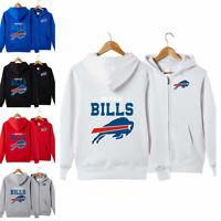 Buffalo Bills Sports Hoodies Zip-up Sweatshirt Hooded Coat Jacket Fan's Gift