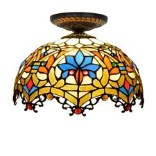 Baroque Ceiling Lamp 12 inch Tiffany Pendant Lamp Stained Glass Light Chandelier