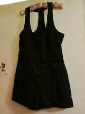 Black Plunge Button Front Stretchy Warehouse Playsuit in Size 12
