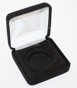 Lot of 10 Black Felt COIN DISPLAY GIFT METAL BOX holds 1-IKE or Silver Eagle ASE