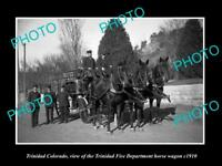 OLD LARGE HISTORIC PHOTO OF TRINIDAD COLORADO, THE FIRE DEPARTMENT WAGON c1910