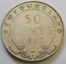 1917 Newfoundland Silver Half Dollar Coin. (RJ8)