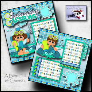 SWIMMING LESSONS 2 premade scrapbook pages paper printed layout 4 album ~ CHERRY