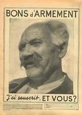 WWII Bon Souscription d'Armement Portrait Agriculteur France 1940 ILLUSTRATION
