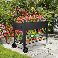 12 Grids Iron Raised Garden Bed Elevated Metal Planter Box with Wheels Shelfs
