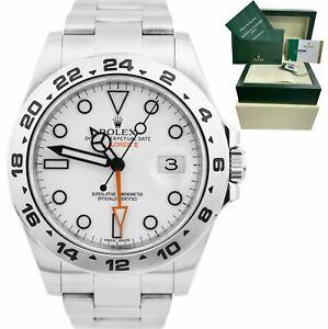 Rolex Explorer II 42mm Polar White Orange Stainless Steel GMT Date Watch 216570
