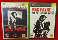 Max Payne 1 + 2 Fall of... Lot - Microsoft Xbox OG Game Rare Tested Working