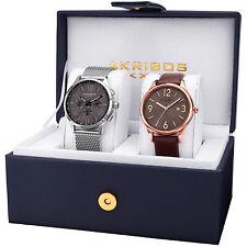 Akribos XXIV Men's AK971GN-S Genuine Leather/Stainless Steel Mesh Watch Set