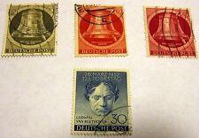 Germany Berlin 1951-2 Scott # 9N75, 77, 79, 80, Canceled, Beethoven, Bells