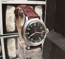 ANTIQUE VINTAGE WWW TIMOR WW2 MILITARY WRIST WATCH BLACK DIAL SERVICED NICE !