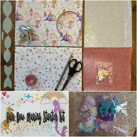 Hair Bow Making Starter Kit fabrics glitters clips hair bands templates canvas