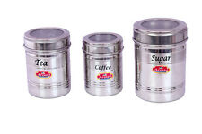 Aristo Tea Coffee Sugar Clear Steel Containers, 375ml-800ml, 3 Pieces (VR600)