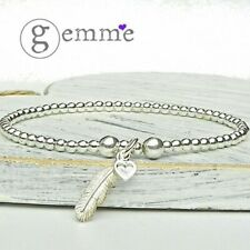 Sterling Silver Stretch Beaded Stacking Bracelet with Feather& mini heart charm