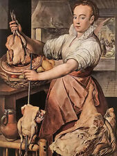 Oil painting joachim beuckelaer - the cook young countrywoman in kitchen canvas