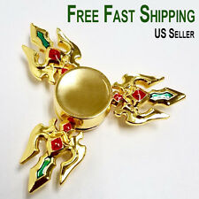 Trident Fidget Spinner Gold EDC Hand Finger Toy for adults kids adhd figit