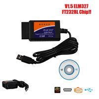 2016 New ELM327 V1.5 USB Interface Autos OBD2 OBDII Diagnostic Scanner Scan Tool
