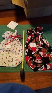 2 Christmas Gift Wine Bags Fabric Reusable Holiday Prints Handsewn Cotton Lt#17