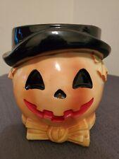 Vintage Relpo Halloween Scarecrow Jack-O-Lantern Headvase Planter